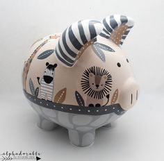 Tanzania Safari Jungle Animals Piggy Bank in Tan and Grey — Alphadorable Safari Jungle, Jungle Animals, New Baby Gifts, Gifts For Girls, The Little Couple, Large Piggy Bank, Welcome Home Baby, Personalized Piggy Bank, Lion