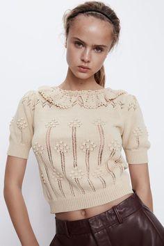Crochet Collar, Crochet Top, Fancy Tops, Summer Sweaters, Summer Knitting, Zara Fashion, Knitting Designs, Mannequin, Knit Dress