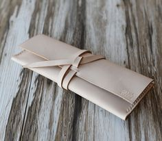 Personalized Leather Roll Make Up Pencil Case / Pen by ExtraStudio