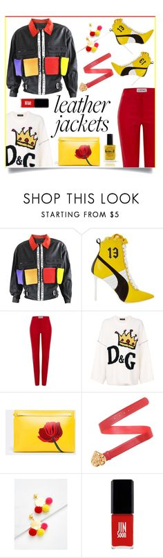 """Leather jackets"" by outfitsloveyou ❤ liked on Polyvore featuring Puma, Loewe, Dolce&Gabbana, Jin Soon and Lauren B. Beauty"