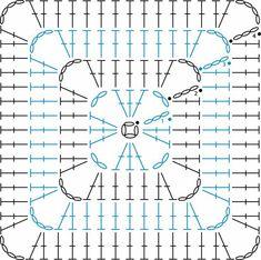 Transcendent Crochet a Solid Granny Square Ideas. Inconceivable Crochet a Solid Granny Square Ideas. Crochet Blocks, Granny Square Crochet Pattern, Crochet Diagram, Crochet Stitches Patterns, Crochet Squares, Crochet Chart, Crochet Motif, Crochet Designs, Crochet Doilies