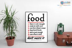 By order of the US Food Administration, Food, Dont waste it! An informational message to help the war effort, and an essential addition to your wall to ensure youre doing your bit for your country.  This print is available in two sizes, select a size at checkout.  Digitally enhanced to retain the authentic vintage feel, but bring out the colours and vibrance of the era, you wont find a higher quality alternative finished to this standard.  The artwork has been printed on heavy, Fuji…