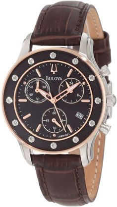 Bulova Ladies Diamond Leather Chronograph Watch 98R160