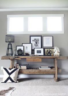 Rustic Modern Family Room Reveal - Modern Rustic Console Table Display/ the long skinny windows are pretty framed out with trim/ pass - Modern Family Rooms, Home Decor Inspiration, Decor, Interior Design, Rustic Consoles, Modern Rustic Decor, Interior, Rustic Console Tables, Home Decor