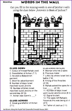 Crossword, Words in the Wall (Jericho) – Kids Korner – BibleWise