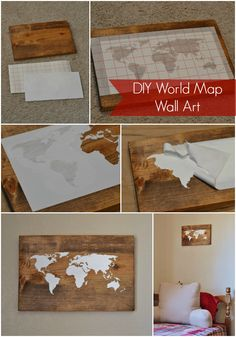 DIY World Map Wall Art. Love this.