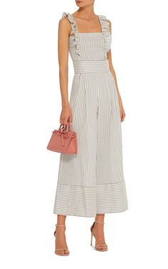 Striped Linen-Blend Jumpsuit by LUISA BECCARIA Now Available on Moda Operandi