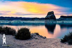 Lone Rock - Glen Canyon NRA 2 - Utah - Landscape Photography - Fine Art Print - 8x10 8x12 12x18 Scenic Sunset Lake Powell Wahweap Bay Orange