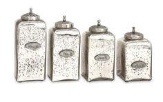 IMAX Numbered Mercury Glass Jars w/ Lids - Set of 4
