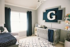 Modern, Preppy Baby Boy Nursery - love the navy and gray color scheme! | Project Nursery