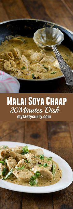 Malai Soya Chaap curry is rich North Indian curry made with soya chaap. Soya Chaap is cooked into creamy and mildly spicy flavourful gravy which is made with rich malai or milk cream. Vegetarian Curry, Vegetarian Recipes, Cooking Recipes, Veg Curry, Cooking Dishes, Vegetable Curry, Cooking Videos, Vegetarian Cooking, Meal Recipes