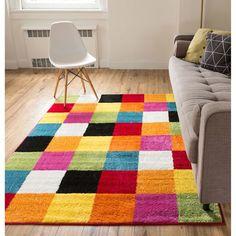 Woven Bright Geometric Square Multi Rug (7'10 x 10'6) (Color), Orange, Size 7'9 x 10'6 (Olefin, Check)