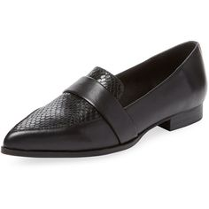 PURE NAVY Women's Yonos Pointed-Toe Loafer - Black - Size 36 (1.610 ARS) ❤ liked on Polyvore featuring shoes, loafers, black, black loafers, pointed toe shoes, black leather loafers, black leather shoes and pointy toe loafers