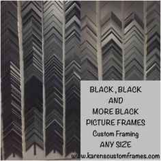 With Black Custom Picture Frames we can Create and Design Styles anywhere from a Simple Basic to a Timeless Classic, or a Sophisticated Modern to a Traditional Elegance at Karen's Detail Custom Frames, Orange County CA. www.karenscustomframes.com