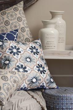 Modern Ethnic cushions - blue range. www.madraslink.com.au