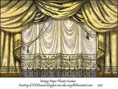 Original Paper Theater Curtain by EKDuncan ~EveyD at deviantART.   This and various other colors of toy theater curtains can be found at http://eveyd.deviantart.com/gallery/33415981?offset=24#