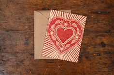 Single Hand Block Printed Card by ShopKatharineWatson on Etsy, $5.00