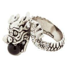 Andrew Hamilton Crawford Dragon Ring ($19) ❤ liked on Polyvore featuring jewelry, rings, silver, multi stone rings, silver rings, andrew hamilton crawford, silver jewellery and silver jewelry