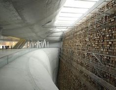 Wall of Knowledge, concept for Stockholm Library. The image is a rendering by a team of students at the Architecture School of Paris La Seine.
