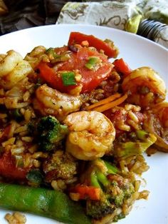 Cajun Rice with Shrimp-With brown rice, veggies & stewed tomatoes.  Easy & good for you.