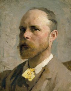George Clausen (British, 1852-1944), Study for a Self-portrait. Oil on canvas, 48.3 x 38.9 cm. Royal Academy of Arts, London.
