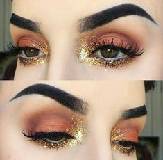Orange and gold eye makeup look
