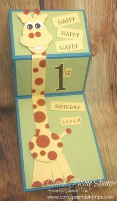 Stampin' Up!, Number of Years, DIY Punch Art, handmade birthday cards. Kids Birthday Cards, Baby Birthday Card, Homemade Birthday Cards, Giraffe Birthday, Birthday Greetings For Kids, Bday Cards, Homemade Cards, Folded Cards, Cool Cards
