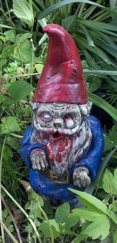 "Items similar to Zombie Gnome-""Walking Dead"" on Etsy Holidays Halloween, Halloween Treats, Halloween Party, Halloween Decorations, Zombie Style, Haha, Zombie Party, Rare Birds, Gnome Garden"