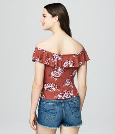 Cape Juby Floral Ruffle Bodycon Top -