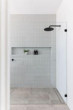 Bathroom Renos, Laundry In Bathroom, Bathroom Renovations, Home Renovation, Small Bathroom, Master Bathroom, Modern Bathroom Tile, Light Grey Bathrooms, Bathroom Tapware