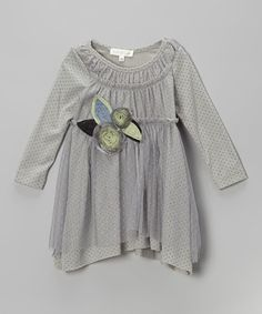 Take a look at this Gray Polka Dot Rosette Dress - Infant, Toddler & Girls by Baby Sara on #zulily today!