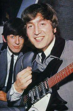 """The Beatles: George Harrison photobombs John Lennon on the set of A Hard Dork's Night, 1964 "" Foto Beatles, Les Beatles, John Lennon Beatles, Beatles Photos, George Harrison, Liverpool, Richard Starkey, We Will Rock You, The Fab Four"