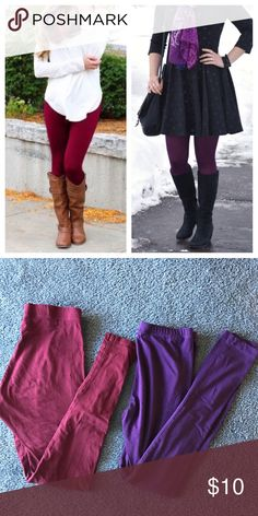 Bundle burgundy wine and purple tights Bundle burgundy wine and purple tights. Burgundy is THE COLOR trending this season! 🍁bundle and choose something else from this closet to save! Pants Leggings