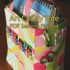 fairytale frocks and lollipops :: gingercake, virginia lindsay, art caddy tote, art, crafts, kids, play, crayon, carry-all, carry all, tote, bag, travel, inspiration, school, sewing, instant, e-pattern, downloadable, e-book, tutorial