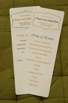Wedding Reception Program Sample | Weddings & Events Puram Family ...