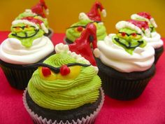 Dr.Seuss Grinch cupcakes, plus many other Seuss character cupcakes.
