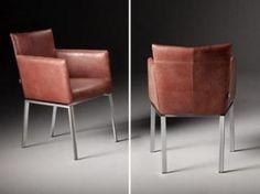 Design eetkamer stoel Meribel en Sabine in leder Fabric Combinations, Leather Fabric, Bar Stools, Dining Chairs, Chrome, Contemporary, Interior Design, Wood, Furniture