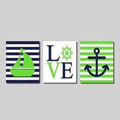 Nautical Wall Art Sailboat Love Captains Wheel Anchor Navy Lime Green Set of 3 Prints Modern Boy Nursery Kids Bathroom Bedroom Decor Picture