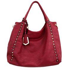 Purple Leopard Boutique - Red Faux Leather Purse Gold Studs Crossbody Hobo Shoulder Bag Satchel, $56.00 (http://www.purpleleopardboutique.com/red-faux-leather-purse-gold-studs-crossbody-hobo-shoulder-bag-satchel/)