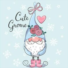 Cute Cartoon Gnome on a blue background. Greeting Christmas card Cute Cartoon Gnome with flowers on a blue background royalty free illustration Christmas Greetings, Christmas Cards, Christmas Ideas, Gnome Paint, Scandinavian Gnomes, Acrylic Pouring Art, Christmas Gnome, Stock Foto, Free Illustrations
