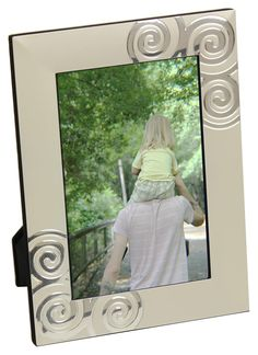 4 x 6 Picture Frame for Tabletop or Wall, Tight Swirls, Aluminum - Silver