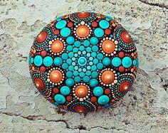 Pietra Mandala dipinto a mano (junior, blu rosso)