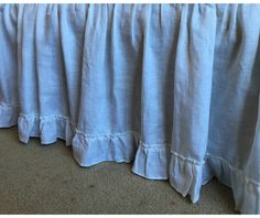 New to CustomLinensHandmade on Etsy: Natural l linen bedskirt with vintage ruffle hem bed ruffles linen dust ruffles bed skirts shabby chic bedding Romantic country (179.00 USD)