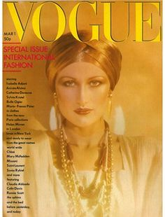 March 1976  A packed international fashion issue featuring French ingénue Isabelle Adjani modelling Emanuel Ungaro and Catherine Deneuve lounging in Yves Saint Laurent.