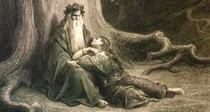Vivien and Merlin by Gustave Dore CC