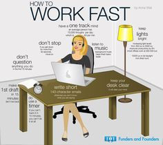 love this infographic. notice her 'pear' laptop?Let Go, Keep it Simple, Move Quickly: Secrets to Being a Productive Entrepreneur (Infographic) Neuer Job, Improve Productivity, Workplace Productivity, Keep It Simple, Simple Things, Career Advice, Study Tips, Study Hacks, Business Tips