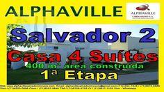 Casa Alphaville Salvador 2, 4 Suítes, 1ª Etapa Casa localizada no setor 1 de Alphaville Salvador 2, com 2 pisos, 2 salas sendo sala do 1º piso para 3 ambientes, 4 suítes, sendo suíte máster com closet, piscina com espaço gourmet, cozinha com armários, dependência completa, Área construída com 400 m² e terreno com 573 m².