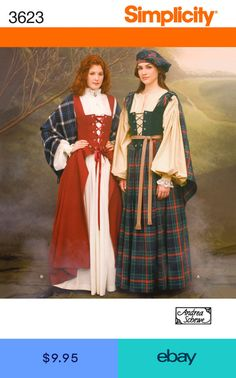 Simplicity 3623 Outlander Clair Highlander Celtic Dress Hat Shawl Costume Sewing Pattern Size 10 and 12 UNCUT Scottish Costume, Scottish Dress, Irish Costumes, Celtic Clothing, Scottish Clothing, Medieval Dress Pattern, Gown Pattern, Renaissance Costume, Medieval Costume