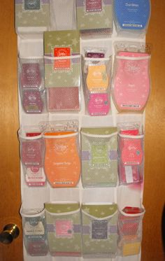 Shoe hangers to organize Scentsy brick & bars! Such an awesome idea. Need to get some! I might need 4 or 5, though! ♥