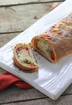 Two Cheese Prosciutto & Roasted Red Pepper Stromboli - FoodBabbles.com